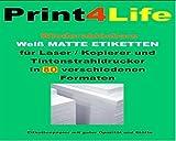 1200 Stk. Klebe-Etiketten aus holzfreiem, matt weißem Papier mit ablösbarem Kleber. ABLÖSBAR Adressetiketten Etikettenformat 105.0x48.0mm , 100 Blatt DIN A4, 70g/qm, geeignet für Inkjet Laser Kopierer