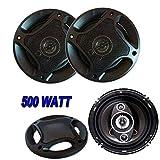 B-black® COPPIA CASSE AUTO 500W ALTOPARLANTI 2 VIE TWEETER OFF 16 CM SPEAKER