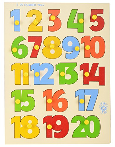 Skillofun Wooden 1-20 Number Shape Tray with Knobs, Multi Color