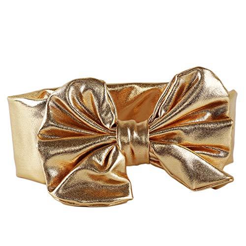 Haarband Big Bow Blume Stirnband Kinder Heißprägen Bogen Haarband Baby Stirnband Kopftuch Headwear, Gold ()