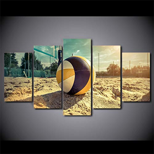 5 Pieces of Printed Canvas  Hd Printed Picture On Canvas Modern Painting   Beach Volleyball Modular Decor Posters Wall Art Home Frame Living Room,30X40 30X60 30X80Cm,No Fram -
