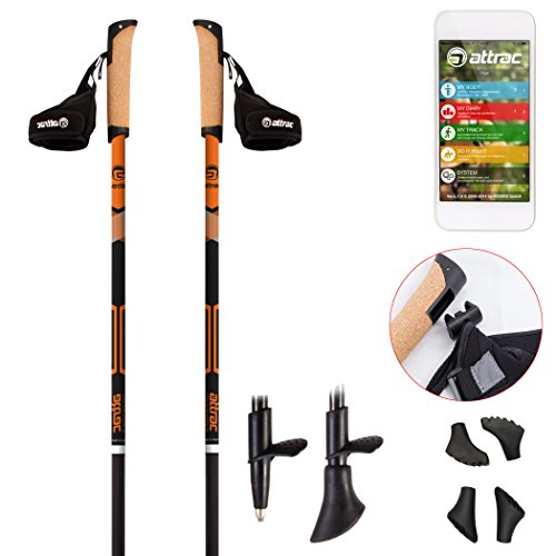 Nordic Walking Stöcke Carbon Light mit Handgelenkschlaufen (120 cm) | GRATIS - Nordic Walking/Fitness App