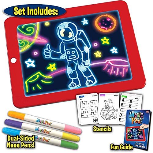 COBRA Magic Sketch Drawing Pad | Light Up LED Glow Board | Draw, Sketch, Create, Doodle, Art, Write, Learning Tablet | Includes 3 Dual Side Markers, 30 Stencils and 8 Colorful Effects for Kids