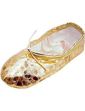 [Patrocinado]Happy Cherry - Zapatos Baile Niña Práctica Danza Zapatos Cordón Cruzado Elástico Suela Piel - EU29 Dorado