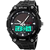 Mudder Men Sports Solar Power 50M Waterproof Outdoor LCD Movement Military Watch, Black