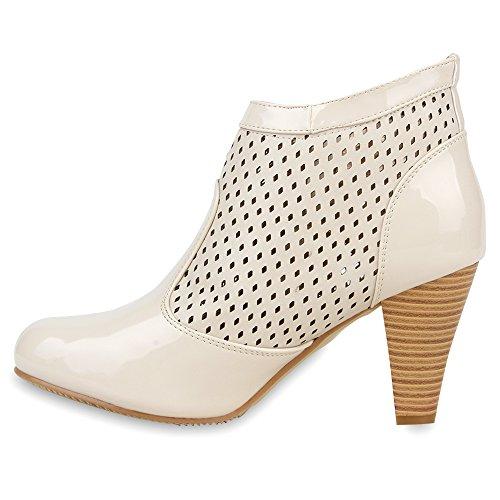 Damen Stiefeletten Lack Ankle Boots Schuhe Creme ...