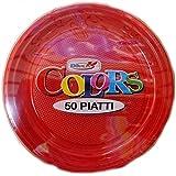 50 Piattini In Plastica Rigida Colorati DOpla - rosso