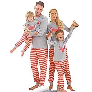 ZOEREA Pijamas Familiares de Dos Piezas Navidad Bebé Niño Niña Papá Mamá Conjunto de Ropa Mangas Largas Top + Pantalones… 2
