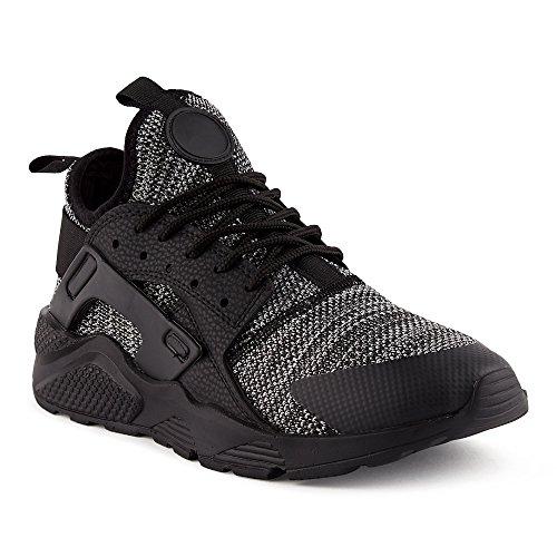 FiveSix Herren Damen Sneaker Sportschuhe Laufschuhe Freizeitschuhe Textilschuhe Camouflage Schnürschuhe Low-Top Unisex Schuhe Schwarz/Grau-M EU 41 (Jordan Schuhe Schwarz Und Grau)