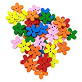 #5: Generic Pack of 100 Colorful Flower Shape Wooden 2 Holes Buttons Embellishments for Sewing Crafts
