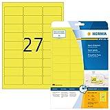 Herma 5140 Neonetiketten neon gelb (63,5 x 29,6 mm) 540 Farbetiketten, 20 Blatt DIN A4 Papier farbig matt, signalstark, bedruckbar, selbstklebend