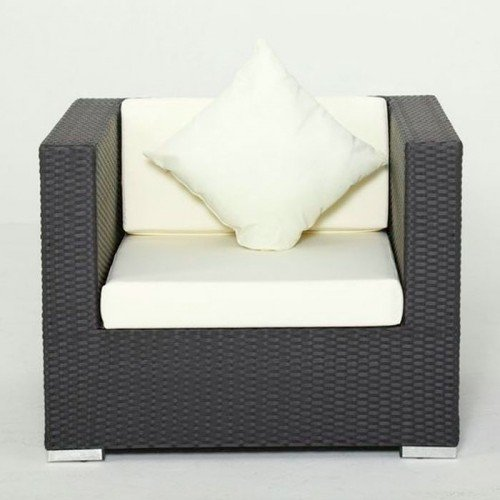 Sessel Polyrattanmit Kissenboxfunktion schwarz