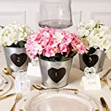 SET OF 5 - Antique Zinc Chalkboard Personalised Wedding Table Centrepiece Centre Piece Display Vase Pot H13 x D16cm - Fantastic Vintage Style Wedding Decoration!