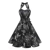 Topdress Women's Vintage Polka Audrey Dress 1950s Halter Retro Cocktail Dress Black White S