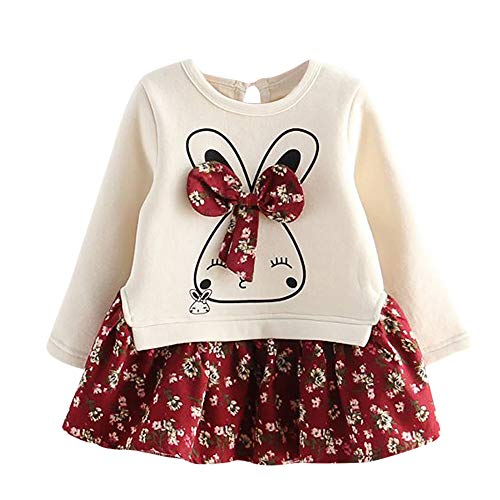 OSYARD 1-5 Jahre Baby Mädchen Sweatshirt Kleid Cartoon Bunny Prinzessin Patchwork Tüll Kleidung,Kleinkind Niedlich Kaninchen Druck Bow Tops Shirts Oberteile Lange Ärmel Party Mini Dress Swing Kleid (Ripped Strass)