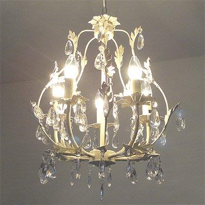 Antiker Kronleuchter L'ARBRE 5-armig Metall mit Blattverzierungen cremeweiß Deckenleuchte Deckenlampe