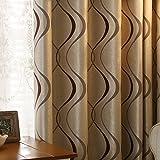 adaada Lot de 2rideaux art géométrique moderne salon Rideaux, marron, 230*140cm