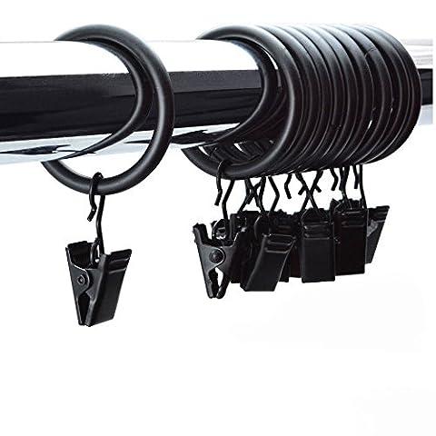 Tringle A Rideau A Suspendre - 10x en métal Noir Anneaux de rideaux