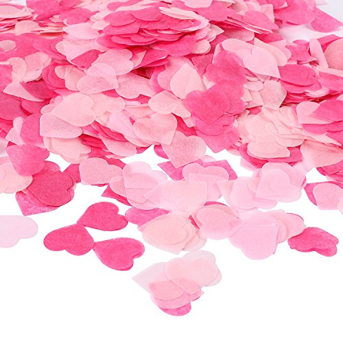 Whaline 6000 Stück 1 Zoll Herzen Konfetti Rosa Serie Tisch konfetti Seidenpapier, Tissue Konfetti Herz für Hochzeit Geburtstag Valentinstag Party Baby Duschen