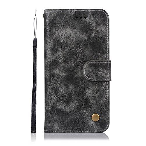 Chreey Huawei P20 Hülle, Premium Handyhülle Tasche Leder Flip Case Brieftasche Etui Schutzhülle Ledertasche, Grau