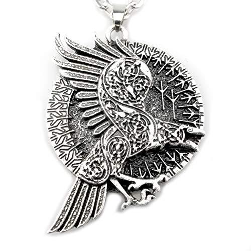 URBANTIMBER Wikinger Halskette Odin\'s Rabe im Runenkreis