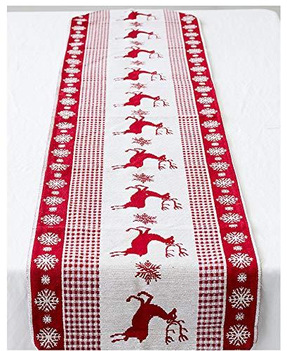(CYSTYLE Baumwolle Leinen Weihnachten Elch Tischfahne Tisch Flagge für Weihnachten Dekoration (Stil 2))