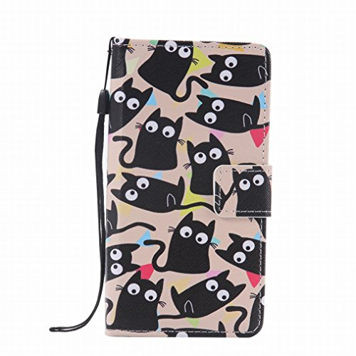 LEMORRY BQ Aquaris M5 Etui Gaufré Cuir Portefeuille Pochette Protecteur Magnétique Fermeture Fente Carte Silicone TPU Housse Cover Coque pour BQ Aquaris M5, Cartoon Cat