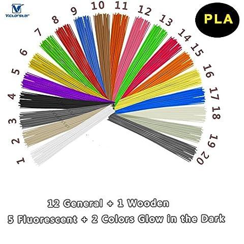 3D Pen Filament Refills PLA - VICTORSTAR 20 Colors, 200 Meters (656 Foot), Stick Straight (10 Straight Modello)