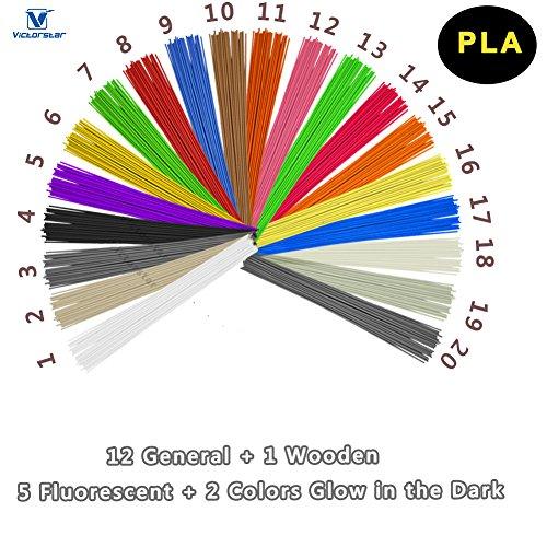 VICTORSTAR @ PLA 3D-Druck Stift Filament 20 Farben - 200 Meter (656ft) / Bonus Farben 1 Holz + 2 im Dunkeln Leuchten + 5 Fluoreszierend / Durchmesser 1,75 mm / Pflanzenharzmaterial und Kein Geruch Besser für die Gesundheit