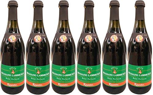 Lambrusco rosso dolce Riunite grünes Etikett DOC (6 X 0,75 L) - Roter Süßer Perlwein 7,5 % Vol.