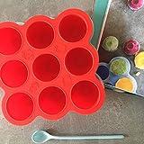 Nuri BPA-freie Gefrierform zum Einfrieren und Aufbewahren von Babynahrung/Babybrei (Rot)