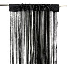 VICTORIA M Leonora Cortina de hilos 100 x 245cm, negro