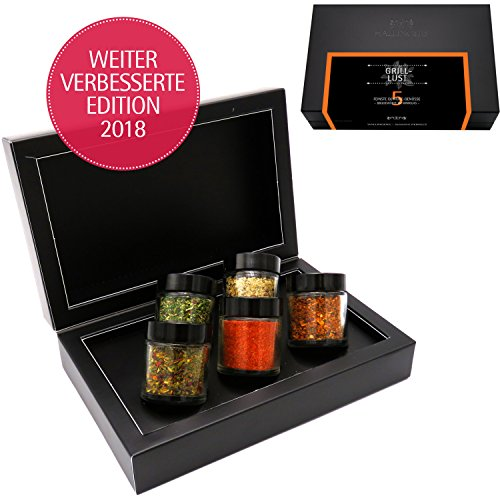 Hallingers 5er Premium-Grill-Gewürze als Geschenk-Set (95g) - Grilllust (MiniDeluxe-Box) - zu Sommer Grillen Für Ihn