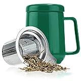 Tealyra - Peak Ceramic Green Tea Cup Infuser - 580ml - Large Mug
