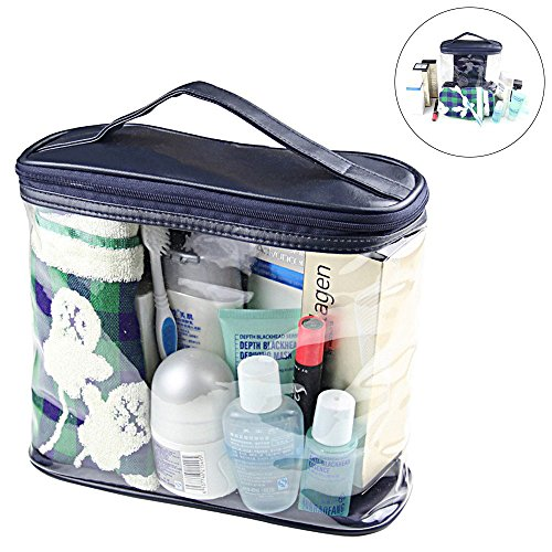 Transparent Toiletry Bag, Clear Travel Makeup Pouch Sundry Bag Wash Bag, Cosmetics and Toiletries Organizer Bag with Top Handle for Men and Women, Dark Blue