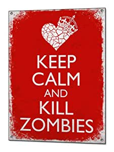 Keep Calm and Kill Zombies Funny Vintage Metal Sign Retro Tin Plaque Poster Enseigne en metal