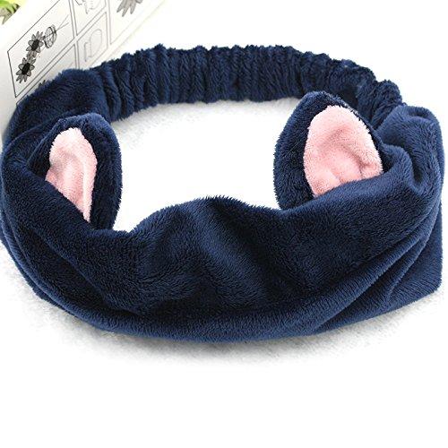 QHGstore Katze-Ohr-Stirnband-Haar-Band für Frauen Gilrs Kopfbedeckung für Gesicht waschen Making up Marine - Marine-gesicht