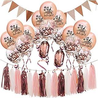 Oblique Unique® Happy New Year Silvester Neujahr Party Feier Deko Set - Girlande Deckenhänger Konfetti Luftballons 20m Folienband Quasten Girlande in Roségold Weiß Rosa Mix