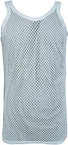 Men's 100% Cotton Club Star Mesh Fishnet Fitted String Vest (Large, White)