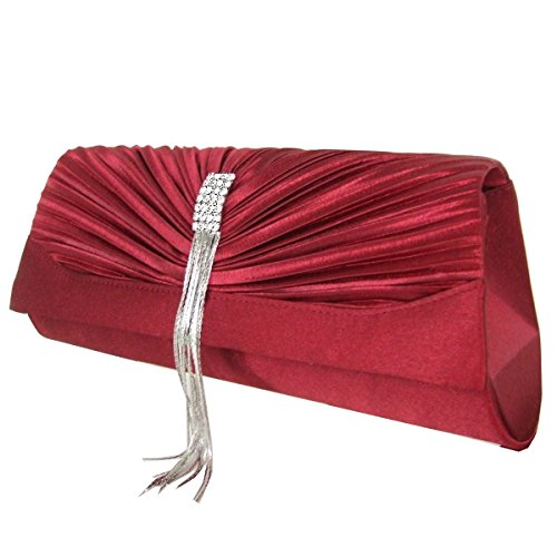 Clutch , Evening Bag Satin / Mod. 2100 by fashion-formel Rosso