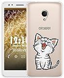 Sunrive Für Alcatel 1X Hülle Silikon, Transparent Handyhülle Schutzhülle Etui Case für Alcatel 1X 5059D(TPU Katze 2)+Gratis Universal Eingabestift