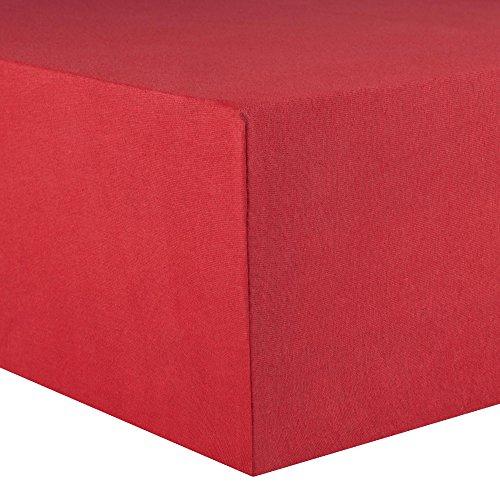 CelinaTex Lucina Spannbettlaken 180x200 - 200x200 rubin rot Jersey Baumwolle Spannbetttuch Doppelbett Matratzen 0002817