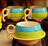 #9: Metro Mart Ceramic Tea Cup and Saucer Set (150 ml, Multicolour)-Set of 6