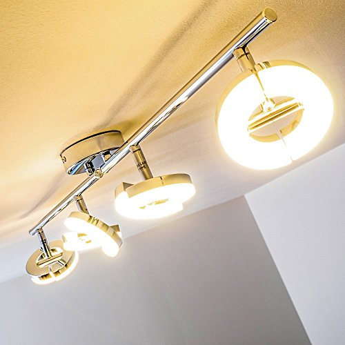 Plafoniera-LED-Lampadario-da-Soffitto-in-Metallo-Cromato-NEW-luci-orientabili
