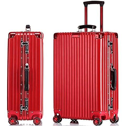 ZHLONG Bagagli della cassa ruote telaio in alluminio Trolley Caster Universal Travel , 2 , 22 inch - 22 Pelle Mm Brown
