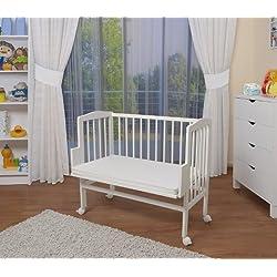 WALDIN Lit cododo pour bébé/berceau - hauteur réglable - bois naturel ou blanc laqué,blanc laqué,Surface de couchage extra large : L 90 x l 55