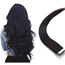 Extensiones cinta adhesiva de pelo natural - Tape in Human Remy Hair Extensions - 50cm 50g #1B Negro