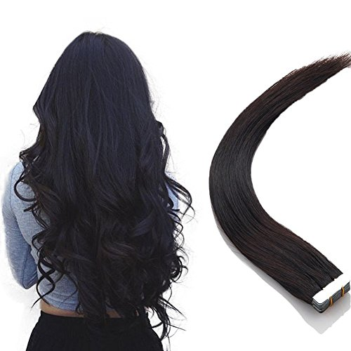 Tape in Haar Extensions Echthaar Haarverlängerung 20 Tressen 50 Gramm Naturschwarz 50cm (Dunkles Haar Extensions Echthaar)