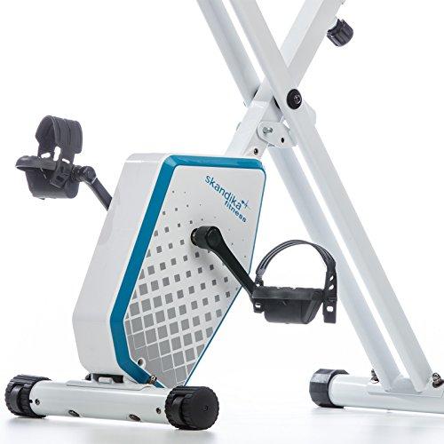 skandika Foldaway X-1000 Plus - Vélo Appartement en X Pliable avec Dossier - 8 Niveaux de Resistance - Jusqu'à 110 KG - Bluetooth (Blanc/Bleu)