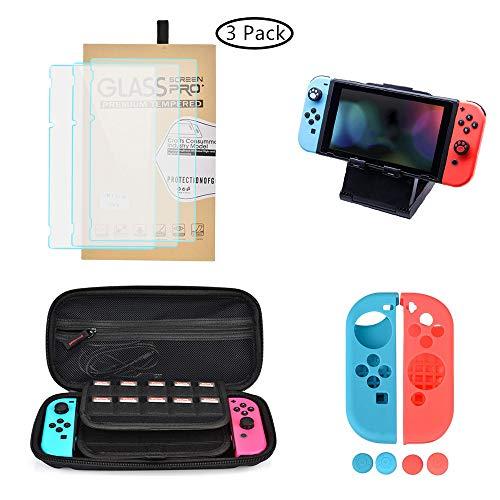 OIZEN Zubehörsets für Nintendo Switch, Tasche für Nintendo Switch/Schutzhülle/Einstellbare Halterung/Joy-Con Case Cover Gelschutz Hülle mit Daumengriffkappen/Switch Glass Displayschutzfolie, usw.